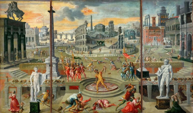 Резня по указу Триумвирата (The Massacre of the Triumvirate)_1566_116 х 195_х.,м._Париж, Лувр